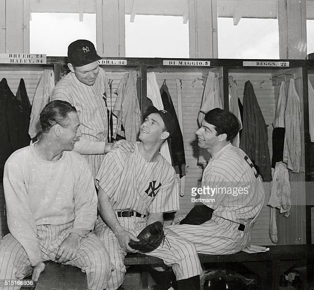 Joe Gordon only recently a rookie trying for a spot on the team was the center of a pep rally in the locker room among New York Yankee baseball...