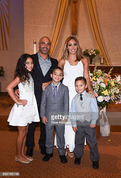 Joe Gorga Joey Gorga Jr Antonia Gorga Gino Gorga and Melissa Gorga pose at St Pius X Churchafter their son's Gino Gorga's First Communion on May 21...