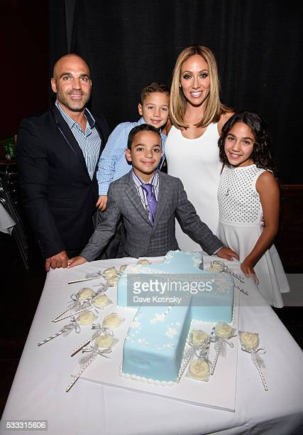 Joe Gorga Joey Gorga Jr Gino Gorga Melissa Gorga and Antonia Gorga celebrate their son Gino Gorga's First Communion at Fresco on May 21 2016 in...