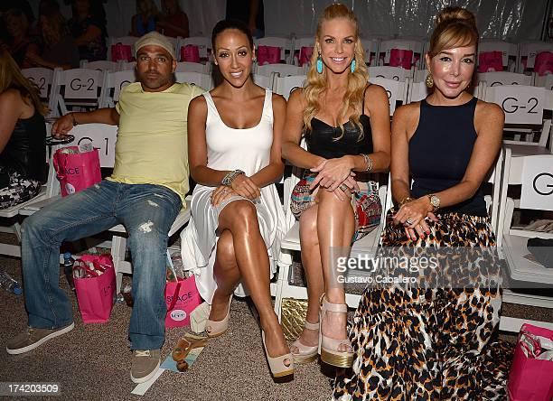 Joe Gorga Melissa Gorga Alexia Echevarria and Marysol Patton pose with Ipanema at the L*SPACE By Monica Wise show during MercedesBenz Fashion Week...