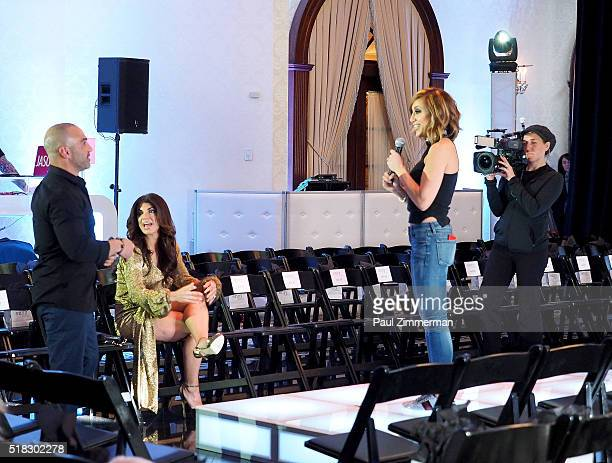 Joe Gorga Teresa Giudice and Melissa Gorga attend the envy By Melissa Gorga Fashion Show at Macaluso's on March 30 2016 in Hawthorne New Jersey