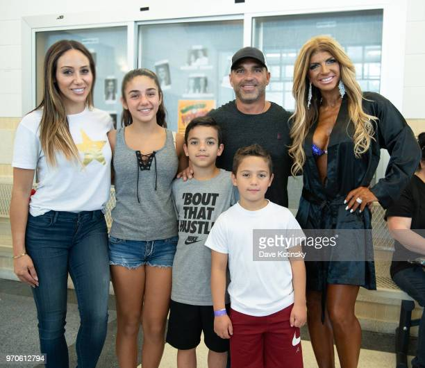 Joe Gorga Teresa Giudice Melissa Gorga Joey Gorga Jr Antonia Gorga and Gino Gorga pose at the NPC South Jersey Bodybuilding Championships on June 9...