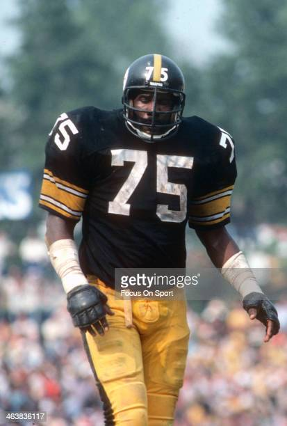 Joe Green of the Pittsburgh Steelers looks on against the Baltimore Colts during an NFL football game October 30 1977 at Memorial Stadium in...