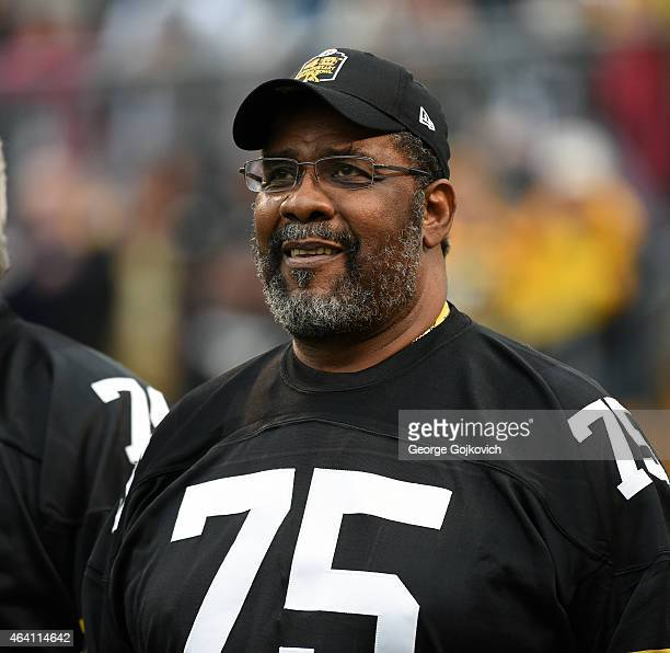Joe Greene former defensive lineman for the Pittsburgh Steelers looks on from the sideline during a game between the New Orleans Saints and...