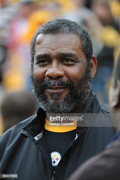 Joe Greene former defensive lineman for the Pittsburgh Steelers looks on from the sideline before a game between the Steelers and Cincinnati Bengals...