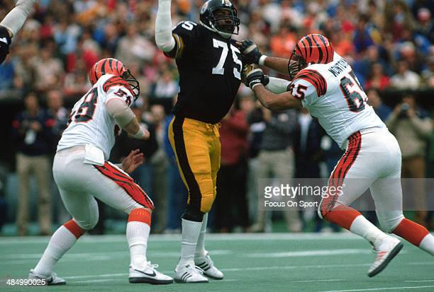 Joe Greene of the Pittsburgh Steelers in action against Max Montoya of the Cincinnati Bengals during an NFL football game December 2 1979 at Three...