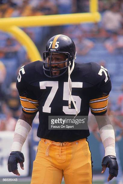 Joe Greene of the Pittsburgh Steelers stands on the field circa the 1970's during a game