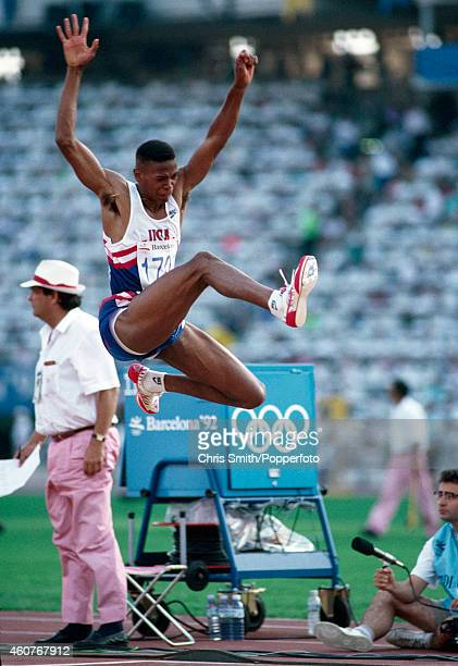 Joe Greene of the United States bronze medallist in the men's long jump at the Summer Olympic Games in Barcelona circa August 1992