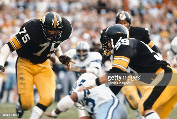 Joe Greens and Jack Ham of the Pittsburgh Steelers pursues the play against the Dallas Cowboys during Super Bowl XIII on January 21 1979 at the...