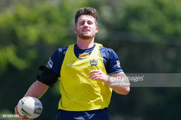 Joe Greenwood looks on during a Gold Coast Titans NRL training session at Parkwood on March 14 2018 in Gold Coast Australia