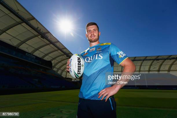 Joe Greenwood poses for a photo during a Gold Coast Titans NRL media opportunity at Cbus Super Stadium on August 9 2017 in Gold Coast Australia