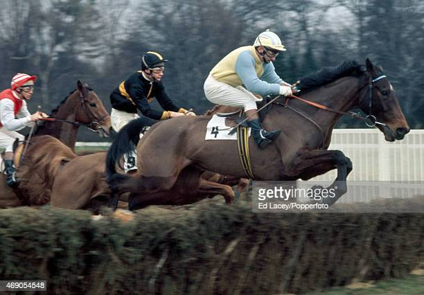 Joe Guest riding Royal Measure leads Bill Rees riding Hayfield in the Lime Open at Sandown Park Racecourse in Esher Surrey on 12th March 1971