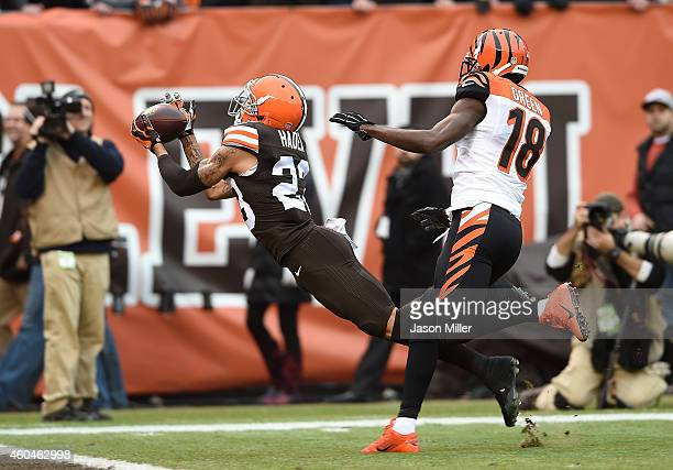 Joe Haden of the Cleveland Browns can't make a catch on a pass intended for AJ Green of the Cincinnati Bengals during the first quarter at...