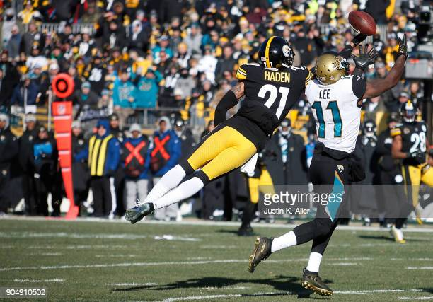 Joe Haden of the Pittsburgh Steelers knocks away a pass intended for Marqise Lee of the Jacksonville Jaguars in the first half during the AFC...