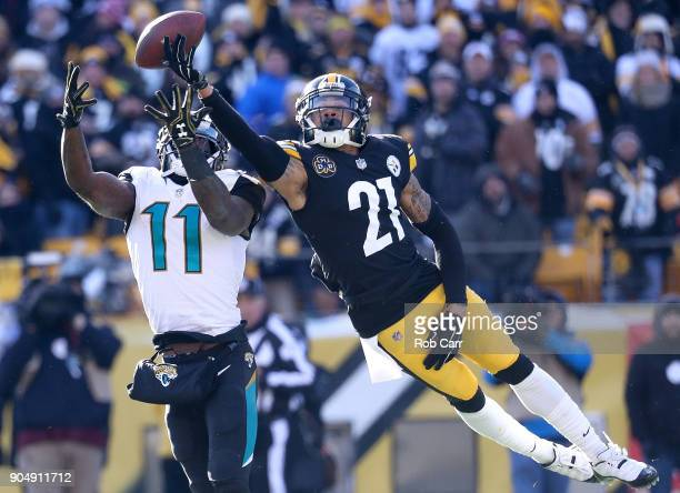 Joe Haden of the Pittsburgh Steelers tips a pass intended for Marqise Lee of the Jacksonville Jaguars during the first half of the AFC Divisional...