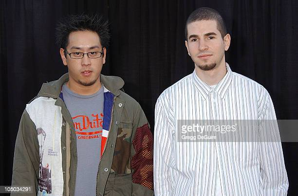 Joe Hahn and Brad Delson of Linkin Park during The 30th Annual American Music Awards Arrivals by Gregg DeGuire at Shrine Auditorium in Los Angeles...