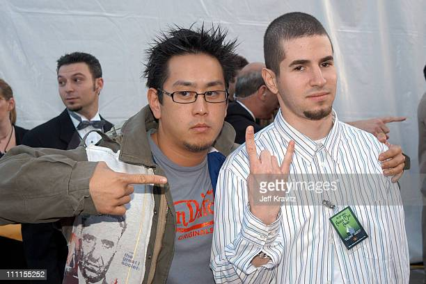Joe Hahn and Brad Delson of 'Linkin Park' during The 30th Annual American Music Awards Arrivals at Shrine Auditorium in Los Angeles California United...