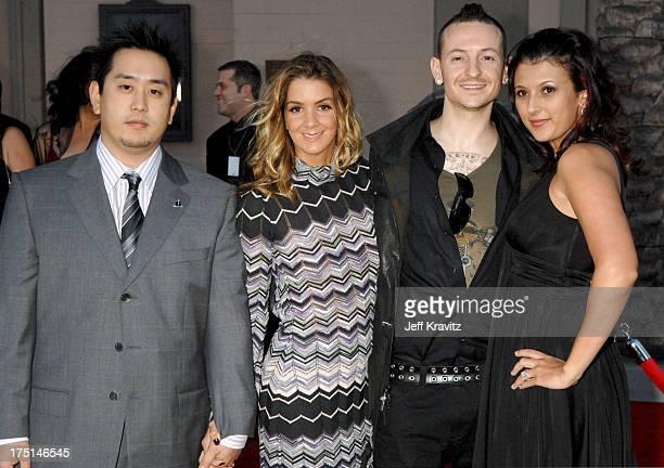 Joe Hahn and Chester Bennington of Linkin Park with Karen Benedict and Talinda Bennington
