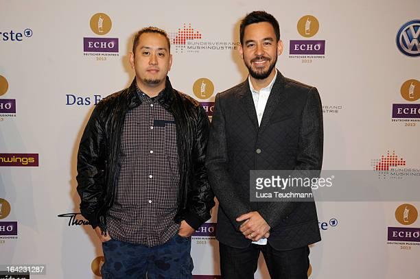 Joe Hahn and Mike Shinoda attend the Echo Award 2013 at Palais am Funkturm on March 21 2013 in Berlin Germany