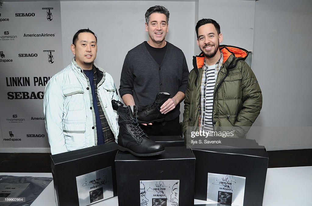 Joe Hahn, Gary Malamet and Mike Shinoda attend Sebago and Linkin Park's launch of their collaboration at Reed Space NYC on January 22, 2013 in New York City.