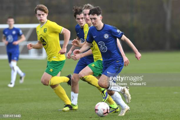 Joe Haigh of Chelsea during the Norwich City v Chelsea U18 Premier League match on February 27, 2021 in Norwich, England.