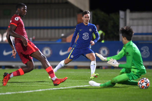 Joe Haigh of Chelsea scores the third goal during the Premier League 2 match between Chelsea and Liverpool on September 24, 2021 in Kingston upon...