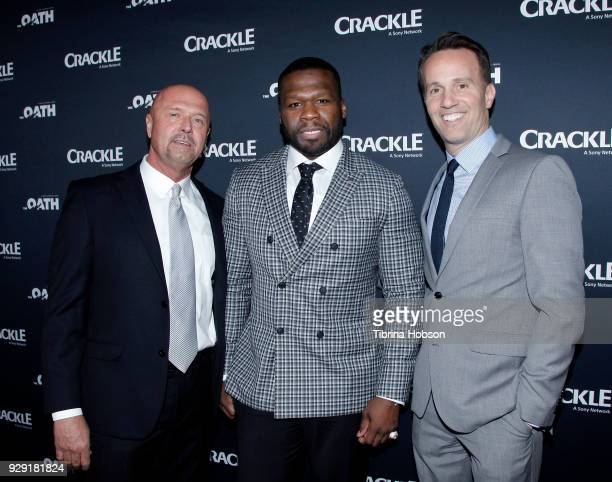 Joe Halpin 50 Cent and Eric Berger attend the premiere of Crackle's 'The Oath' at Sony Pictures Studios on March 7 2018 in Culver City California