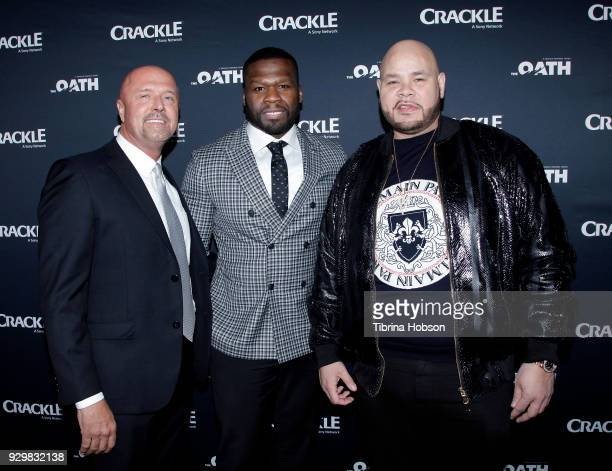 Joe Halpin 50 Cent and Fat Joe attend the premiere of Crackle's 'The Oath' at Sony Pictures Studios on March 7 2018 in Culver City California