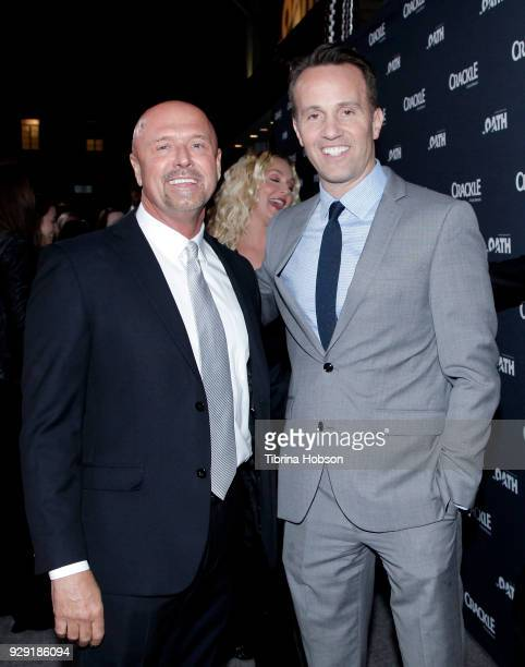 Joe Halpin and Eric Berger attend the premiere of Crackle's 'The Oath' at Sony Pictures Studios on March 7 2018 in Culver City California