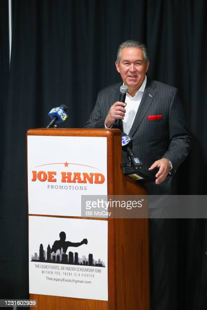 """Joe Hand Jr attends the 50th Anniversary Ali-Frazier """"Fight of the Century"""" Statue Dedication on March 8, 2021 at Joe Hand Gym in Feasterville,..."""