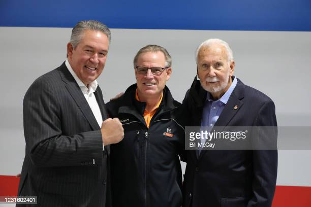 "Joe Hand Jr, Brian Propp and Joe Hand Sr.attend the 50th Anniversary Ali-Frazier ""Fight of the Century"" Statue Dedication on March 8, 2021 at Joe..."