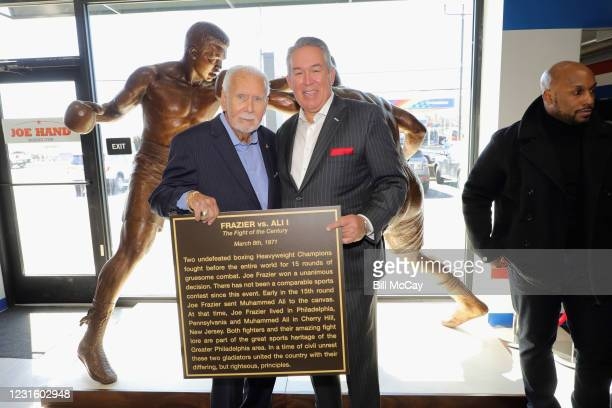 "Joe Hand Sr, Joe Hand Jr and Joe Frazier Jr attend the 50th Anniversary Ali-Frazier ""Fight of the Century"" Statue Dedication on March 8, 2021 at Joe..."