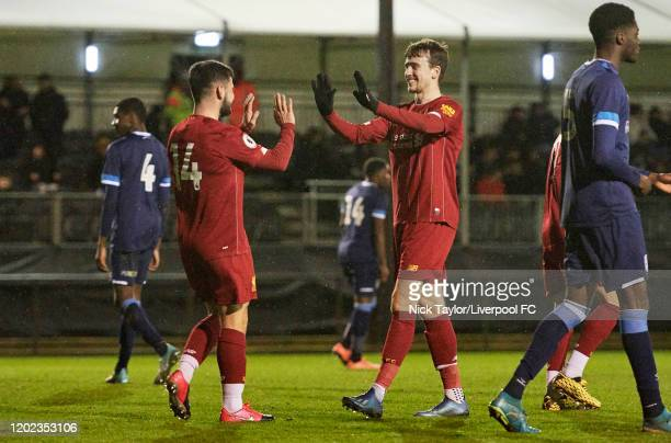 Joe Hardy of Liverpool celebrates his goal with Liam Millar during the Premier League Cup game at the Academy on February 21 2020 in Kirkby England