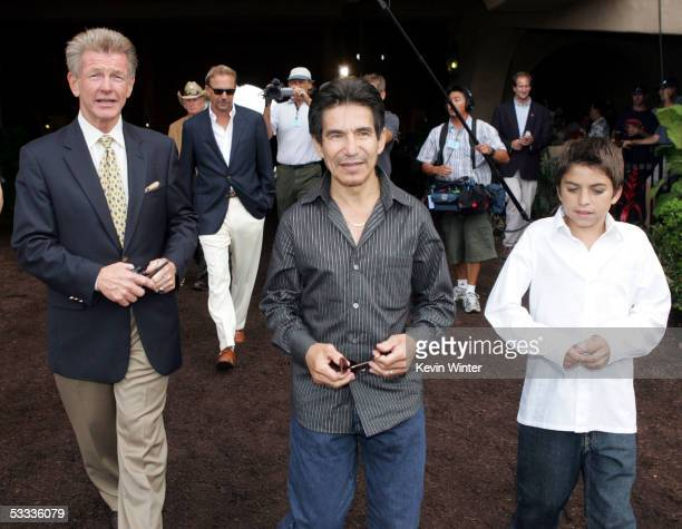 Joe Harper Director President and GM of the Del Mar Thoroughbred Club actor Kevin Costner former jockey Laffit Pincay and his son JeanLaffit Pincay...