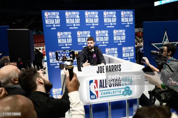 Joe Harris of the Brooklyn Nets addresses the media during the 2019 NBA AllStar Practice and Media Availability on February 16 2019 at Bojangles...