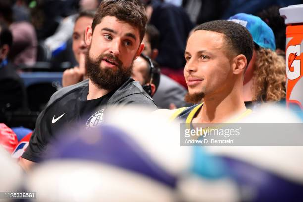 Joe Harris of the Brooklyn Nets and Stephen Curry of the Golden State Warriors talk during the 2019 Mtn Dew 3Point Contest as part of the State Farm...