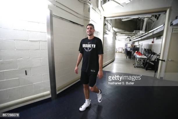 Joe Harris of the Brooklyn Nets arrives before the preseason game against the New York Knicks on October 3 2017 at Madison Square Garden in New York...