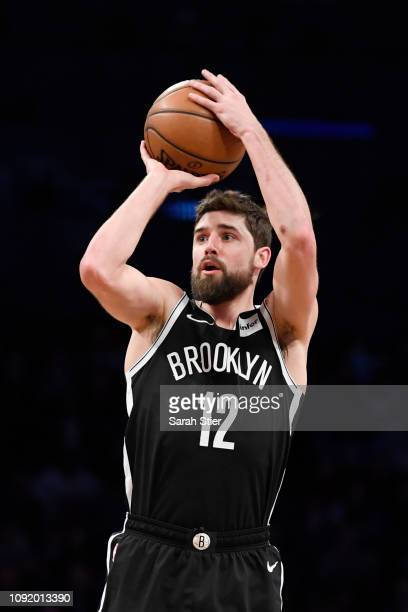 Joe Harris of the Brooklyn Nets attempts a basket during the third quarter of the game against the Atlanta Hawks at Barclays Center on January 9 2019...