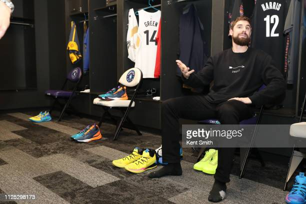 Joe Harris of the Brooklyn Nets before the 2019 Mtn Dew 3Point Contest as part of State Farm AllStar Saturday Night on February 16 2019 at the...