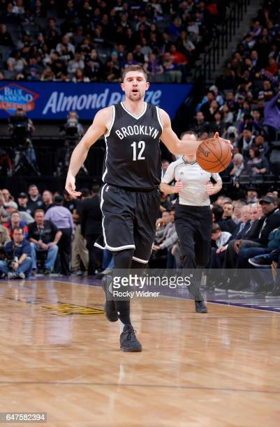 Joe Harris of the Brooklyn Nets brings the ball up the court against the Sacramento Kings on March 1 2017 at Golden 1 Center in Sacramento California...