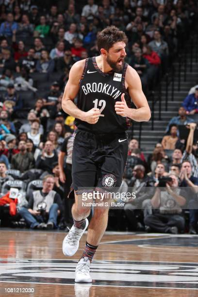 Joe Harris of the Brooklyn Nets celebrates after a play during the game against the Indiana Pacers on December 21 2018 at Barclays Center in Brooklyn...
