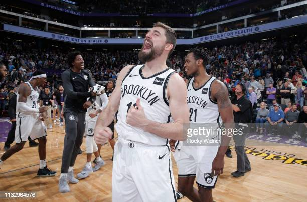 Joe Harris of the Brooklyn Nets celebrates after defeating the Sacramento Kings on March 19 2019 at Golden 1 Center in Sacramento California NOTE TO...