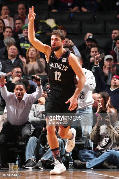 Joe Harris of the Brooklyn Nets celebrates during the game against the Washington Wizards on December 14 2018 at Barclays Center in New York NY NOTE...