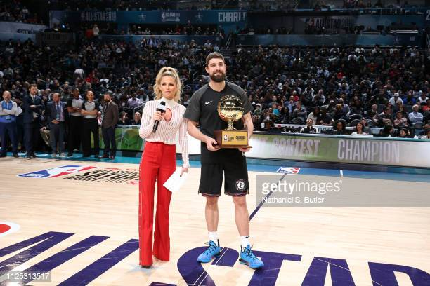 Joe Harris of the Brooklyn Nets celebrates his win after the 2019 Mtn Dew 3Point Contest as part of the State Farm AllStar Saturday Night on February...
