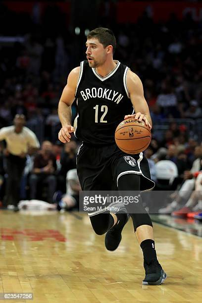 Joe Harris of the Brooklyn Nets dribbles upcourt during a game against the Los Angeles Clippers at Staples Center on November 14 2016 in Los Angeles...