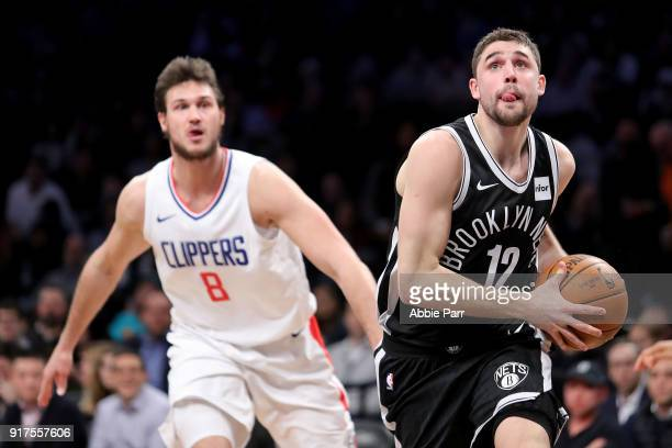 Joe Harris of the Brooklyn Nets drives to the basket against the LA Clippers in the second quarter during their game at Barclays Center on February...
