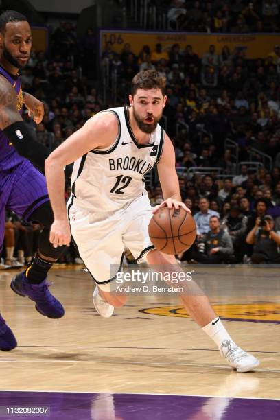 Joe Harris of the Brooklyn Nets drives to the basket against the Los Angeles Lakers on March 22 2019 at STAPLES Center in Los Angeles California NOTE...
