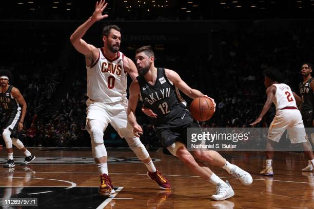 Joe Harris of the Brooklyn Nets drives to the basket against the Cleveland Cavaliers on March 6 2019 at Barclays Center in Brooklyn New York NOTE TO...