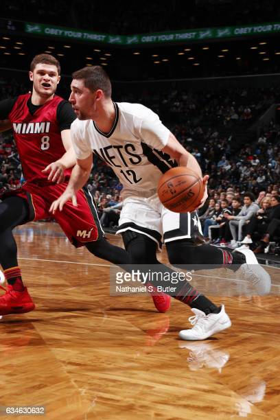 Joe Harris of the Brooklyn Nets drives to the basket against Tyler Johnson of the Miami Heat during the game on February 10 2017 at Barclays Center...