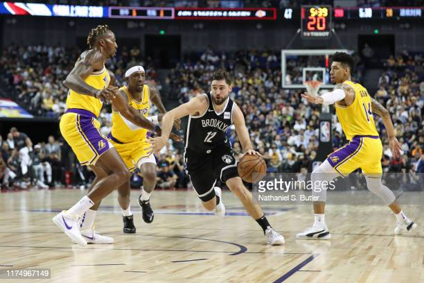 Joe Harris of the Brooklyn Nets drives to the basket during a preseason game as part of 2019 NBA Global Games China on October 10 2019 at Mercedes...